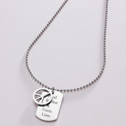 Peace Symbol Dog Tag with Engraving